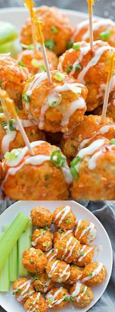 These 30 Minute Buffalo Chicken Meatballs from Life Made Simple are an easy and mess-free appetizer that your friends and family will really love! They are also a healthier option when you need to ser (Buffalo Chicken) Chicken Appetizers, Best Appetizers, Appetizer Recipes, Chicken Recipes, Simple Appetizers, Appetizer Ideas, Lunch Recipes, Dinner Recipes, Tapas