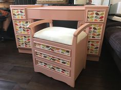 Beautiful upcycled dressing table with adjustable mirror and stool Orla Kiely paper design by DesignsbyKateShop on Etsy https://www.etsy.com/uk/listing/538728158/beautiful-upcycled-dressing-table-with