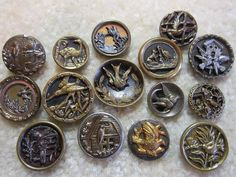 LOT SMALL ANTIQUE/ VICTORIAN METAL BIRD PICTURE BUTTONS