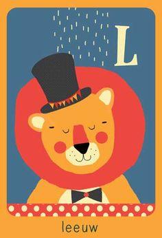 Alfabet print - L - Leeuw - Pimpelpluis - https://www.facebook.com/pages/Pimpelpluis/188675421305550?ref=hl - (nursery print illustration kids children art poster dieren kinderen cute illustratie animal alphabet) abc cards