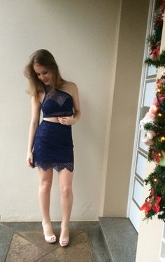 Meu Look de Natal! Azul Marinho   Nude   Saia   Cropped   Transparência