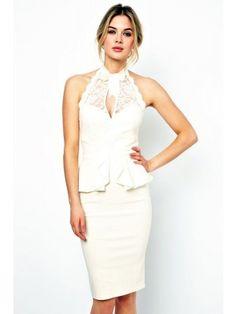 White Peplum and High Neck Pencil Midi Dress $28.95 http://www.sensationofnight.com/white-peplum-and-high-neck-pencil-midi-dress-6168-1.html