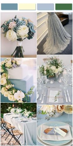 Dusty Blue,Cream and Green Wedding Colors Combo Inspirations