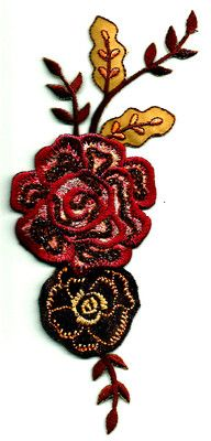 Flowers Wine/Brown Embroidered Iron On Applique