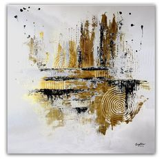 How to create Textured Abstract Painting Background / Satisfying / Easy . City Painting, Oil Painting Abstract, Texture Painting, Modern Art Paintings, Original Paintings, Gold Leaf Art, Abstract City, Painted Leaves, Ocean Art