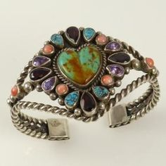 6fc33bc5886 Multi-Stone Heart Cuff by Vintage Collection - Garland's Indian Jewelry  Native American Fashion,