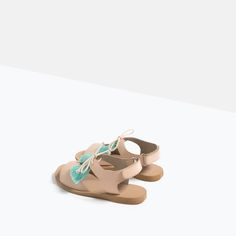 Image 3 of LEATHER POMPOM SANDALS from Zara