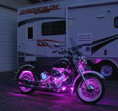 suzuki motorcycle pink | under lights