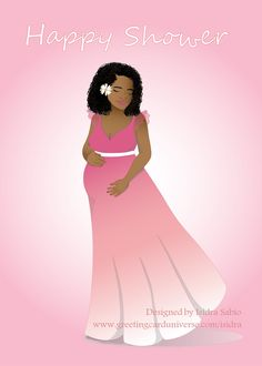 """Coming soon! Baby Shower Cards - This baby shower card shows a beautiful and loving pregnant black (African American) woman in a long pink dress rubbing her belly. She has white flower in her gorgeous naturally curly hair. The inside of the card reads """"Best wishes as you prepare for the arrival of your bundle of joy""""#pregnant #mom #mother Original design by Isidra Sabio"""