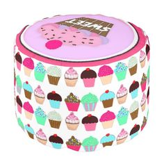 Colorful Cupcakes Round Pouf with pink on top of seat with pink cupcake and cherry.  Click on the artist's Zazzle link.