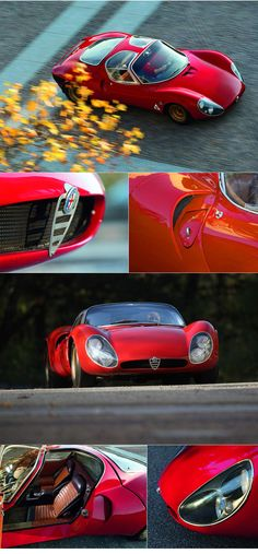 1967 Alfa Romeo T33 / 2 Stradale :: From Auto Injected: Essentially a road-legal version of Alfa's Tipo 33 mid-engined racecar, the limited-run Stradale cost the equivalent of seventeen thousand dollars (US) when it was summoned upon the gazing eyes of the motoring world in '67. That was astronomical money back then and as a result, Alfa struggled to find buyers for their luxuriously appointed, mid-engined Supercar that was carefully built by hand alongside their racing cars.