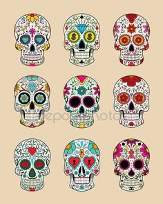 Illustrazione vettoriale di teschi nella tradizione messicana — Illustrazione stock #37148539