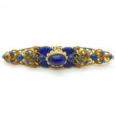 Vintage Czech Art Deco Wave Lapis Glass Brooch    Clarice Jewellery   Vintage Costume Jewellery