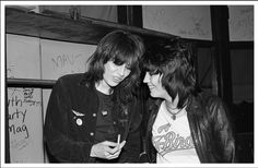 Chrissie Hynde and Joan Jett backstage at The Whiskey April 1980