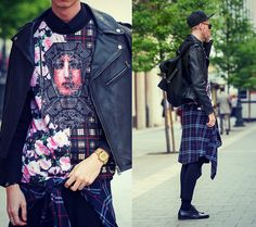 H&M Leather Biker Jacket, Vintage Checked Shirt/ From Daddy, Givenchy Florals And Checked T Shirt