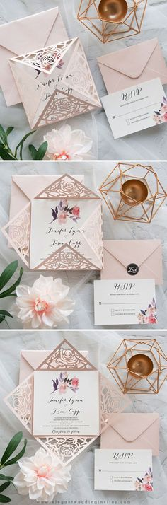 blush laser cut fold with single stem floral accent on invitation EWDM003
