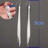 Wish | Women Fashion Jewelry 925 Sterling Silver Long Hook Tassels Drop Dangle Earrings