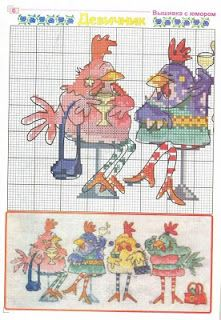 this line-up of hens is adorable - Sandrinha Cross Stitch