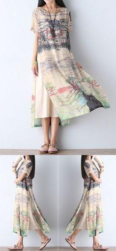 Gracila Scenery Printed Double Layer Short Sleeve Women Dresses