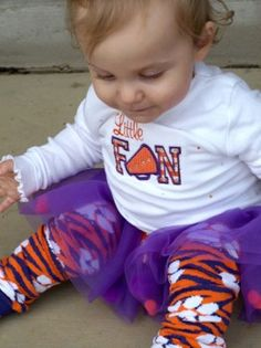 New Dittany Baby Clemson warmers w/ Cutie Pa Tutu's shirt & tutu  Could use this...minus the purple for Syl to cheer for Aaron at Cross Country and Track because they are the Battle Ground Tigers