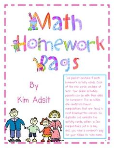 Math Homework Bags for Kindergarten daily math skill practice.  Great idea!