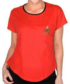 Camiseta chica Uniforme rojo. Star Trek Estupenda camiseta para chica en color rojo de la exitosa saga de Star Trek, 100% oficial y licenciada con la imagen del logo de la federación.