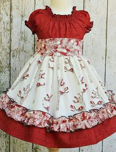 Girls Holiday Peasant Dress in Winter Berry by ItsaBowsLife Like the ruffle idea on the bottom for a little girl