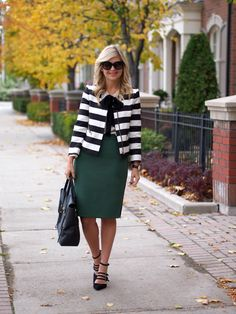 Work Outfit, Blazer, Bow Blouse, Pencil Skirt