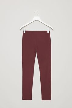 COS image 5 of Slim cotton twill trousers in Burgundy