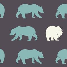 Jay-Cyn Designs for Birch Organic Fabrics, Camp Modern, Bear Hike Shadow - I love how there is one different bear thrown in there for fun Retro Fabric, Cool Fabric, Fabric Patterns, Print Patterns, Orange Fabric, Crib Bedding Sets, Baby Quilts, Beer, Polar Bears