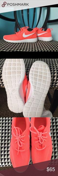Orange/pink Nike Roshes Only worn once. Great condition. Black inside sole from black socks Nike Shoes Sneakers