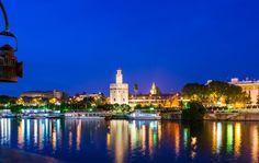 Seville, as seen from Quarter Triana. City of Seville, Spain