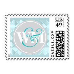 Wedding Monogram Greek Key Turquoise Silver Stamp