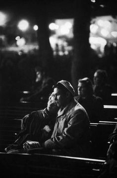Henri Cartier-Bresson 1956   ... share a kyrkbänk, Sweden, 1956, photograph by Henri Cartier-Bresson