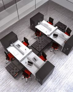 Open Office Workstations designed to support an open office environment. Choose one of these versatile office furniture workstations for the perfect space plan Open Office Design, Open Space Office, Industrial Office Design, Office Interior Design, Office Interiors, Bureau Design, Workspace Design, Office Workspace, Design Ppt