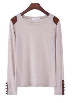 Apricot Patchwork Appliques Buttons Wrap Cotton Blend Sweater