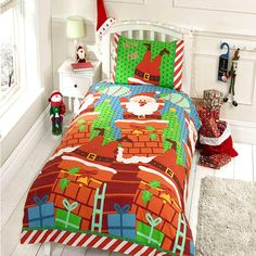 Santas Chimney Christmas Themed Double Duvet http://www.childrens-rooms.co.uk/santas-chimney-christmas-themed-double-duvet.html #festivesantabedding #christmasduvet #santastuckinthechimney