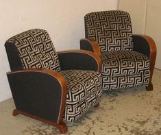 paire fauteuils art deco noyer recouvert tissu toscana coloris steel epoque 20eme