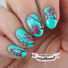 Cherry tree inspired nail art  The base color is Ocean Dive by @isadoraofficial from the new Summer collection Colors In Action!