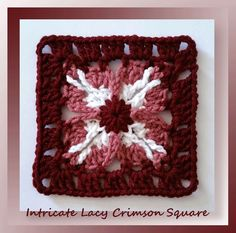 Intricate Lacy Crimson Square, free crochet pattern by Crochet Memories and part of the Mystery Lapghan CAL