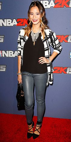 Leave it to Jamie to sport a black tank and gray pants with major statement pieces, among them: a bib necklace, bold ...