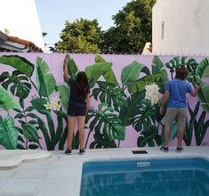 Garden Fence Art, Garden Mural, Outdoor Wall Art, Outdoor Walls, Mural Wall Art, Diy Wall Art, Antonio Francisco Lisboa, Mural Cafe, Casa Patio