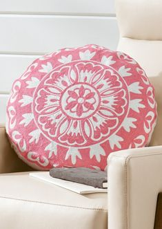 The curves of a round accent pillow take a room in a happier direction, just like a smile, and our Round Medallion Pillow is proof. Prop with other square shapes for a pop of visual interest. A bursting floral medallion is embroidered across the front, and pillow includes plump feather-fill insert. Living Room Colors, Living Rooms, Past My Bedtime, Outdoor Side Table, Grandin Road, Tablet Stand, Lumbar Pillow, My Sunshine, Accent Pillows
