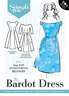 The Bardot dress sewing pattern by designer Simple Sew, find out more and read reviews of this dressmaking sewing pattern here!