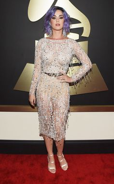 Lavender Haired Katy Perry Hits 2015 Grammys Red Carpet in Glittery Dress: ?I Just Want to Shine Bright Like a Diamond!? | E! Online Mobile