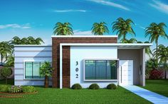 Small House Plan Design - The best interior design ideas for beach house plans range from color, shape, texture, and beach and sea accessories. Bungalow House Design, Modern Bungalow, Modern Style Homes, Small House Design, Modern House Facades, Modern Houses, Beach House Plans, Bedroom House Plans, Story House