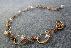 Spring bacelet Copper shapping combined Austrian crystals - copper jewelry - wire jewelry #wirejewelry