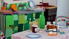 After seven months, and an incredible amount of yarn, the work of 50 artists has been unveiled in Warwick's knitted kitchen.