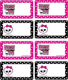 monster high party tags by gypsysue