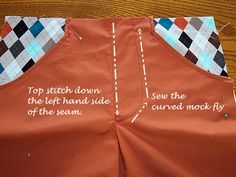 Tutorial: adding a mock fly and pockets to an elastic waist pattern.